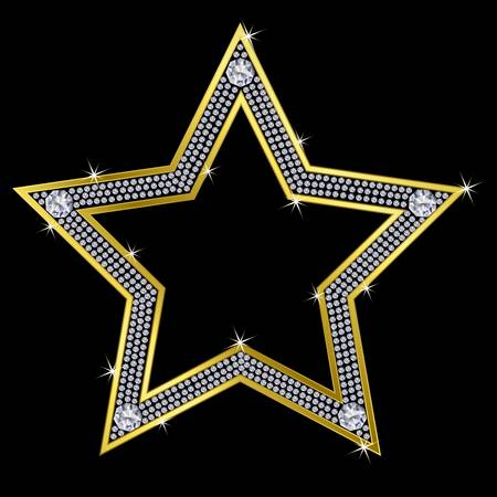 Golden star with diamonds, vector