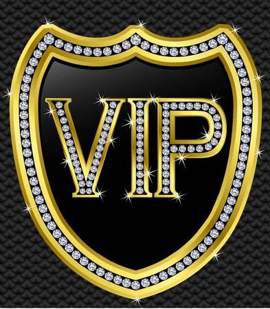 vip symbol: Vip escudo de protecci�n, de oro con diamantes, ilustraci�n vectorial