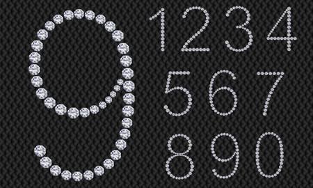 arabische letters: Diamond aantal set, van 1 tot 9, vector illustratie Stock Illustratie