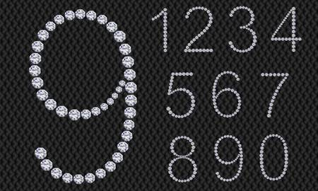 arabic number: Diamond number set, from 1 to 9, vector illustration