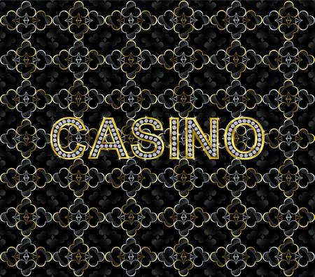 Abstract casino background with golden letters and diamonds  Vector