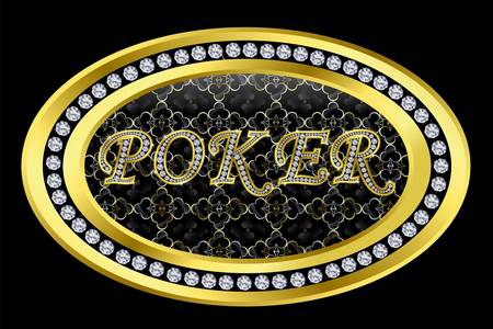Poker sign, golden button with diamonds, vector illustration Vector