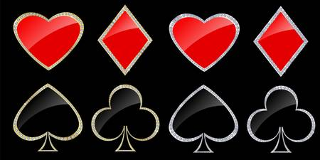 heart diamond: Card symbols in golden and silver frame with diamonds, vector illustration