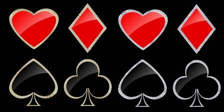 coeur diamant: Symboles de cartes dans le cadre d'or et d'argent avec des diamants, illustration vectorielle