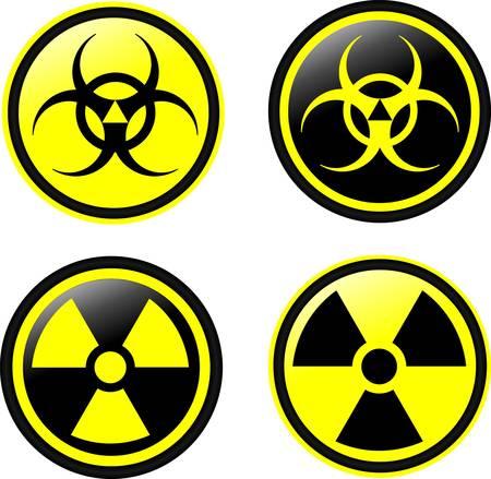 radioattivo: Simboli vettoriali di radiazioni Vettoriali