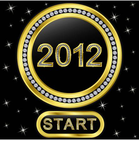 New year 2012 diamonds icon with button start, vector Stock Vector - 11657368