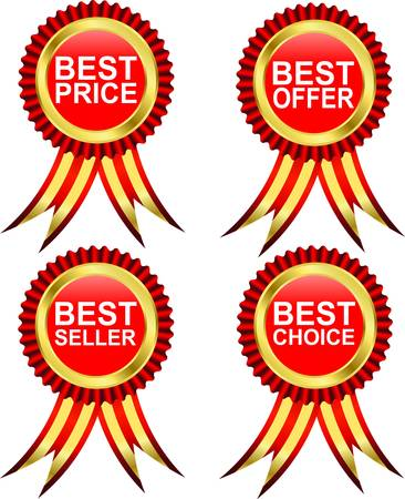 Best choice, best offer, best seller, best price, golden labels wtih ribbons, vector Vector