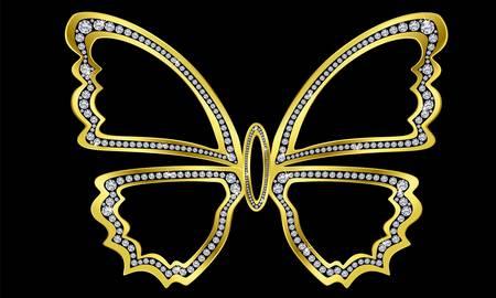 stein schwarz: Schmetterling gold mit Diamanten, Vektor-Illustration