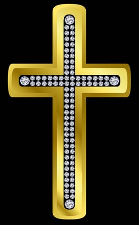 beliefs: Golden cross with diamonds, vector illustration