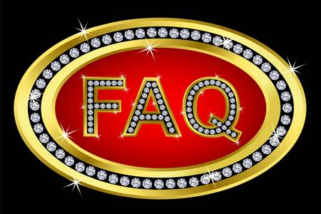 Faq button golden with diamonds, vector illustartion  Vector