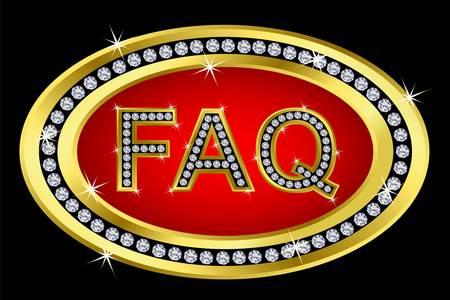 Faq button golden with diamonds, vector illustartion Stock Vector - 11657361
