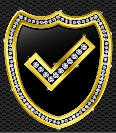 Protection shield with checked mark, golden with diamonds, vector illustration Vector