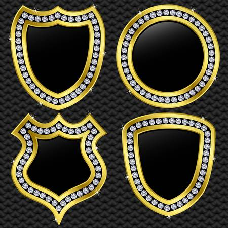badge shield: Set of vector shields, golden with diamonds, vector illustration