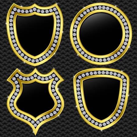 brillant: Set von Vektor-Schilde, goldene mit Diamanten, Vektor-Illustration