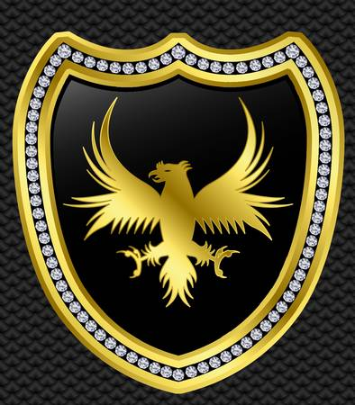 eagle badge: Protection shield with eagle, golden with diamonds, vector illustration