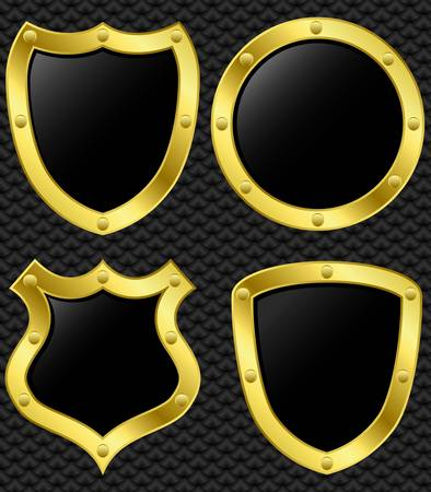 shiny shield: Set of golden shields, vector illustration