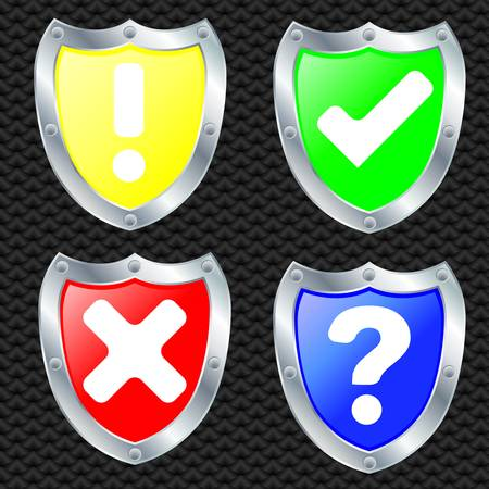Set of security shields, silver frame, vector illustration Stock Vector - 11660852