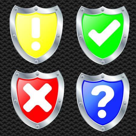 royal guard: Set of security shields, silver frame, vector illustration