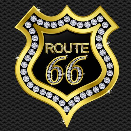 66: Route 66 on protection shield, golden with diamonds, vector illustartion