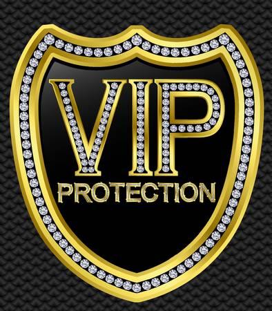 vip symbol: Protecci�n de seguridad vip escudo de oro con diamantes, ilustraci�n vectorial