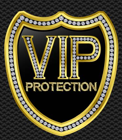 protection icon: Protection security vip shield, golden with diamonds, vector illustration