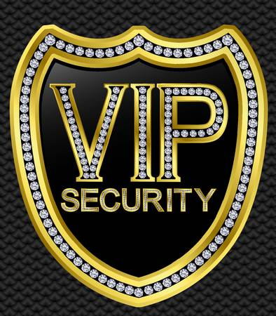 safe guard: Protection security vip shield, golden with diamonds, vector illustration