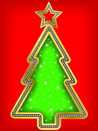 Christmas tree greeting card, golden with diamond, vector illustration Vector