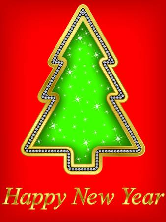Happy new year greeting card, golden with diamond, vector illustration Vector