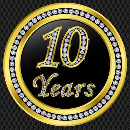 10 Jahre Jubiläum Golden Icon mit Diamanten, Vektor-Illustration