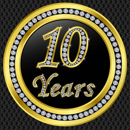 10 years: 10 Years anniversary golden icon with diamonds, vector illustration Illustration