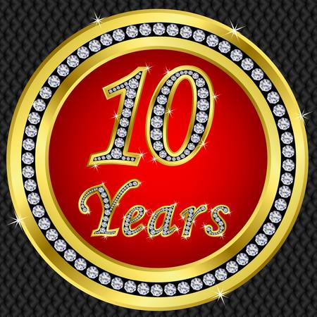 10 Years anniversary golden icon with diamonds, vector illustration Vector