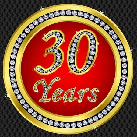 fiftieth: 30 years anniversary golden icon with diamonds, vector illustration