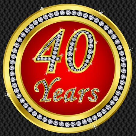 40 years: 40 years anniversary golden icon with diamonds, vector illustration