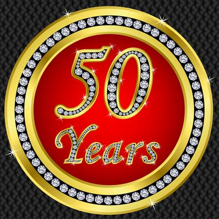 50th: 50 years anniversary golden icon with diamonds, vector illustration Illustration
