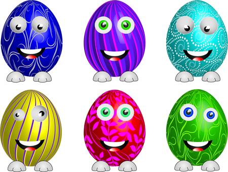 pasqua: Easter eggs set, funny and crazy, vector illustration