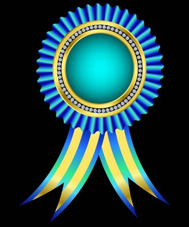 award ribbon rosette: Blue award ribbon, golden with diamonds Illustration