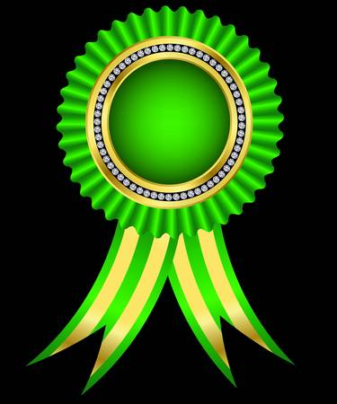 award ribbon rosette: Green award ribbon, golden with diamonds