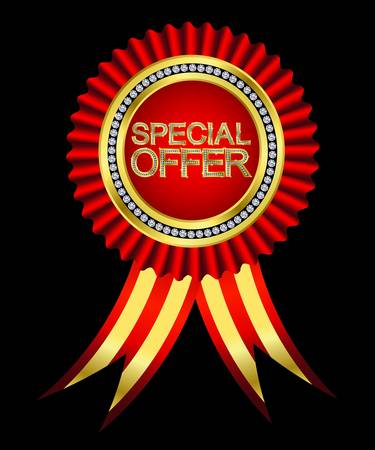 Best offer, golden labels with diamonds and ribbons, vector Stock Vector - 11651109