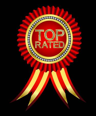 rated: Top rated, golden labels with diamonds and ribbons, vector  Illustration