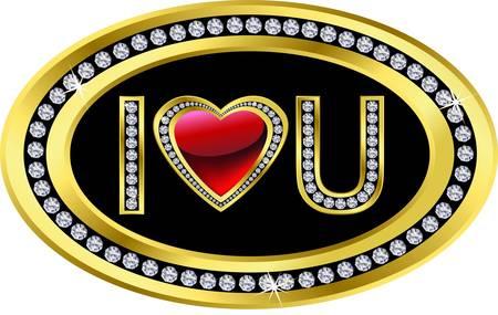 te negro: Te amo icono, de oro con diamantes, ilustración vectorial