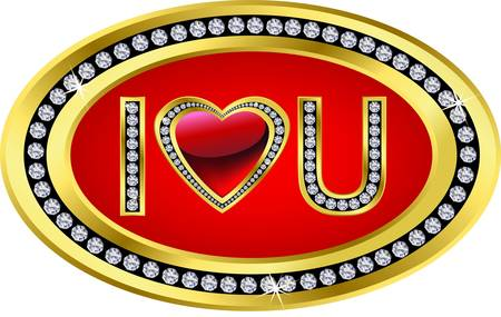 golden heart: I love you icon, golden with diamonds, vector illustration