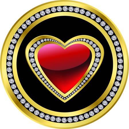 Love icon, golden and diamond heart, vector  Vector