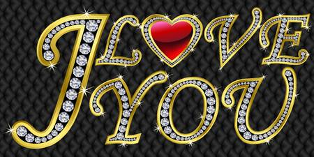 I love you, golden with diamonds, vector illustration  Vector