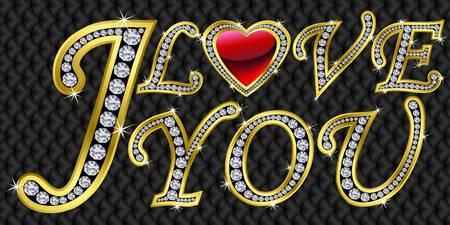 te amo: Te amo, de oro con diamantes, ilustraci�n vectorial