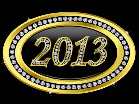 New year 2013 icon, golden with diamonds, vector Stock Vector - 11860261