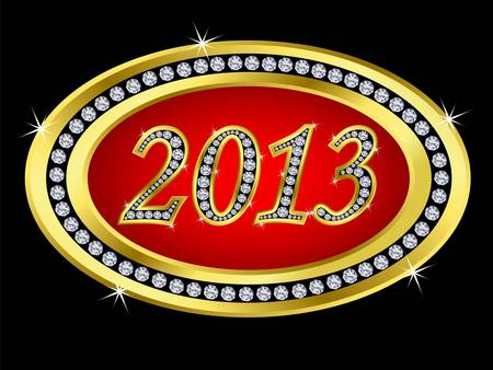 New year 2013 icon, golden with diamonds, vector  Stock Vector - 11860260