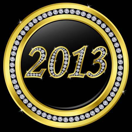 newyear: A�o nuevo 2013 icono, de oro con diamantes, vector