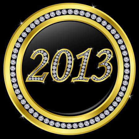 happy newyear: New year 2013 icon, golden with diamonds, vector