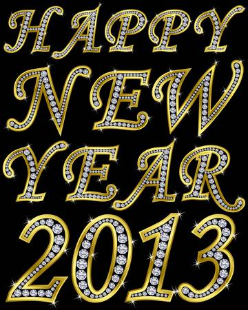 New year 2013 golden with diamonds, vector illustration Vector