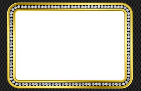 Photoframe, golden with diamonds, vector Vector